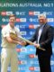 .@stevesmith49 receives @ICC Test mace for leading @CricketAus to No.1 ranking i…